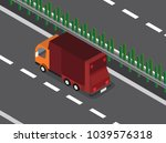 garbage truck in the highway  | Shutterstock .eps vector #1039576318