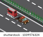 car with trailer  | Shutterstock .eps vector #1039576324