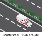 ambulance car in the highway  | Shutterstock .eps vector #1039576330
