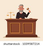 judge character with hammer.... | Shutterstock .eps vector #1039587214