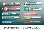 tv news bars set vector.... | Shutterstock .eps vector #1039592278