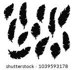 set of hand drawn bird feathers.... | Shutterstock .eps vector #1039593178