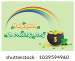 big rainbow with golden coins... | Shutterstock .eps vector #1039594960