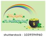 big rainbow with golden coins... | Shutterstock .eps vector #1039594960
