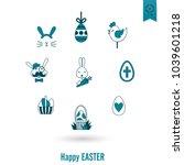 celebration easter icons.... | Shutterstock .eps vector #1039601218