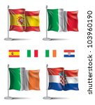 flag icons Flags icons of Spain,Italy,Ireland and Croatia. EURO 2012 Group D.