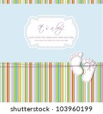 Stock vector baby boy shower card with foot steps and frame for your text 103960199