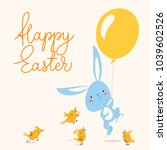 cute vector card with easter... | Shutterstock .eps vector #1039602526