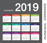 colorful calendar year 2019... | Shutterstock .eps vector #1039604650