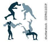 silhouette of fighters on a...   Shutterstock .eps vector #1039611019