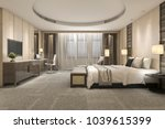 Stock photo  d rendering modern luxury bedroom suite and bathroom 1039615399