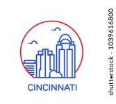 cincinnati city icon. vector... | Shutterstock .eps vector #1039616800