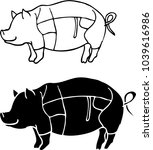 the vector line art of pig | Shutterstock .eps vector #1039616986