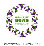 garland with blue bindweed... | Shutterstock .eps vector #1039622140