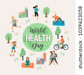 world health day. healthy... | Shutterstock .eps vector #1039623058