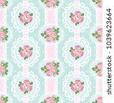 shabby chic rose seamless... | Shutterstock .eps vector #1039623664