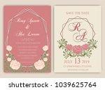 vector set of invitation cards... | Shutterstock .eps vector #1039625764