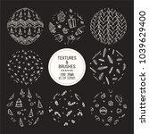 hand drawn winter holidays... | Shutterstock .eps vector #1039629400