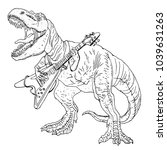 tyrannosaurus playing guitar....   Shutterstock .eps vector #1039631263