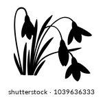 black silhouette of spring...   Shutterstock .eps vector #1039636333
