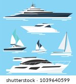 set of yachts and boats. sea... | Shutterstock .eps vector #1039640599