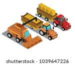 combine harvester and tractor... | Shutterstock .eps vector #1039647226