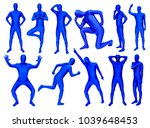 set of man in blue costume in... | Shutterstock . vector #1039648453