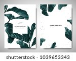 Stock vector greenery greeting invitation card template design dark green leaves with white square frame on 1039653343