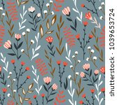 seamless floral design with... | Shutterstock .eps vector #1039653724