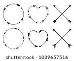 circle and heart arrow frames... | Shutterstock .eps vector #1039657516