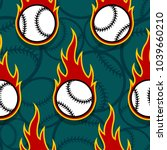 seamless pattern with baseball... | Shutterstock .eps vector #1039660210