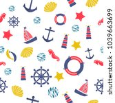 seamless pattern with sea... | Shutterstock .eps vector #1039663699