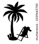 palm tree black outline...   Shutterstock . vector #1039665700