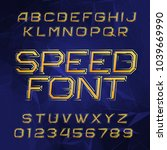 speed alphabet font. oblique... | Shutterstock .eps vector #1039669990
