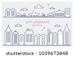 thin line city buildings set.... | Shutterstock .eps vector #1039673848