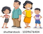 colorful happy people. cartoon... | Shutterstock .eps vector #1039676404