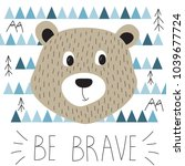 cute greeting card with bear.... | Shutterstock .eps vector #1039677724