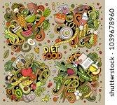 vector doodles cartoon set of... | Shutterstock .eps vector #1039678960