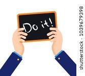 businessman holding up a sign   ...   Shutterstock .eps vector #1039679398