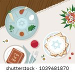 traditional passover table for... | Shutterstock .eps vector #1039681870
