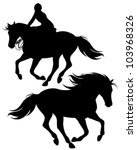 Fine Silhouettes Of Horseman...