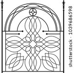 wrought iron gate  ornamental... | Shutterstock .eps vector #1039686598