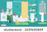 dirty bathroom  toilet  cat's... | Shutterstock .eps vector #1039690849