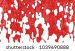 red paint flows down. 3d... | Shutterstock . vector #1039690888