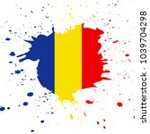 romania flag. ink painted... | Shutterstock .eps vector #1039704298