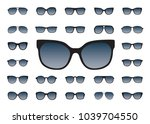 set of black sunglasses... | Shutterstock .eps vector #1039704550