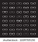 set of white glasses isolated.... | Shutterstock .eps vector #1039705150