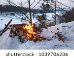 Campfire Burns In The Snow In...