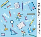 school supplies cartoons | Shutterstock .eps vector #1039711684