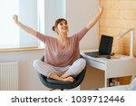 excited european woman raising... | Shutterstock . vector #1039712446